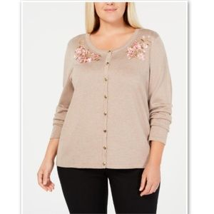 Karen Scott Macys Plus Embroidered Floral Cardigan